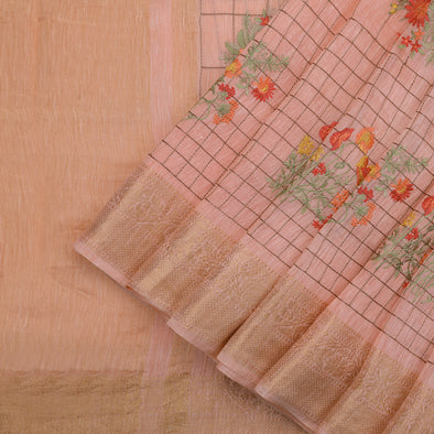 Light Peach Linen Saree