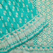 Crushed turquoise banarasi Georgette saree