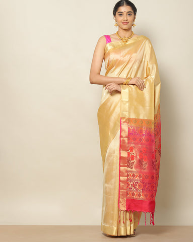 Tussar colour designer pure soft silk saree