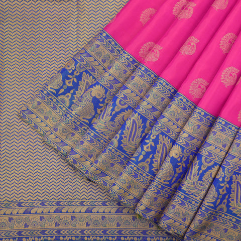 French rose kanjivaram saree