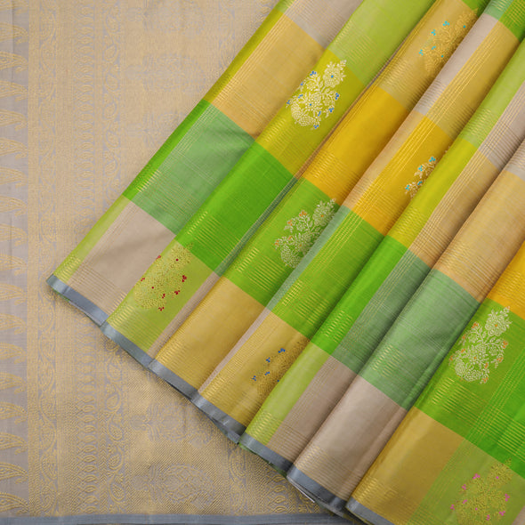 Multihued Checked Kanjivaram Silk Saree