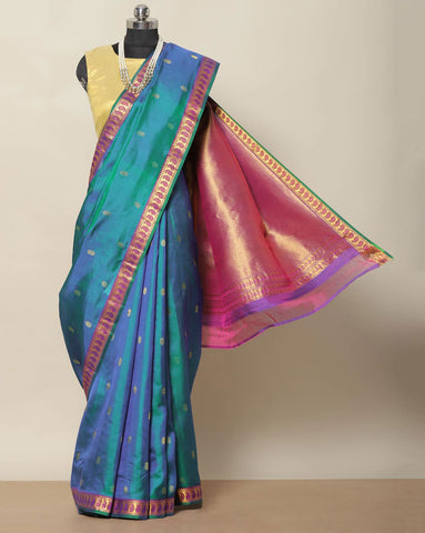 Peacock blue designer pure silk saree