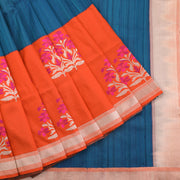 Blue and Orange Banarasi Dupion Saree
