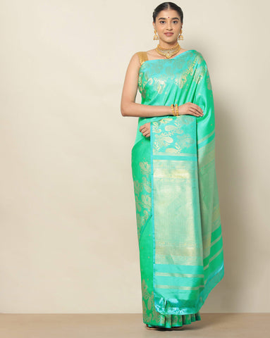 Rama green designer silk saree