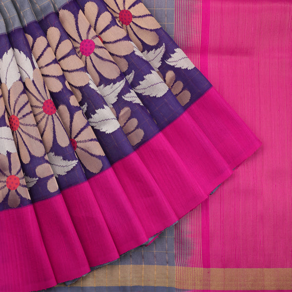 Grey Banarasi Dupion Checks Saree