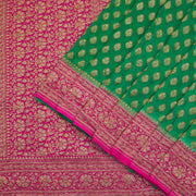 Banarasi georgette leaf green saree