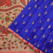 Royal blue pure silk organza saree