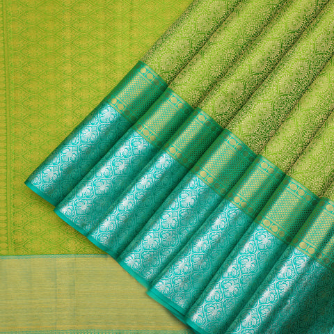 Designer Kanchipuram Silk leaf green colour saree