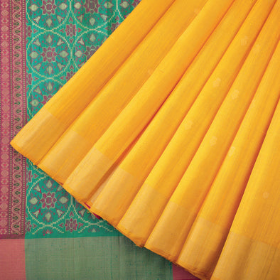 Marigold yellow raw silk saree