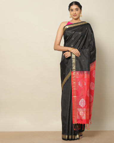 Black and red pure soft silk saree