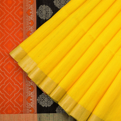 Sunflower yellow raw silk saree