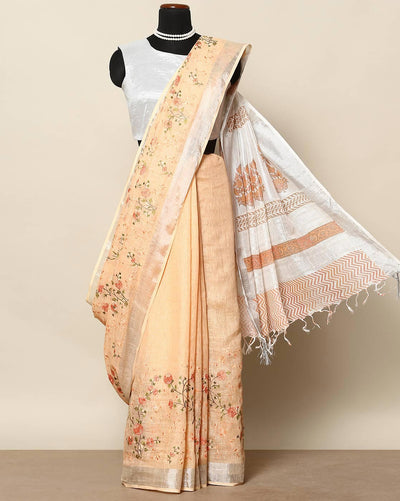Orangish peach elegant linen saree