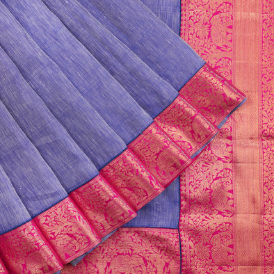 Royal Blue Pure Linen Designer Saree