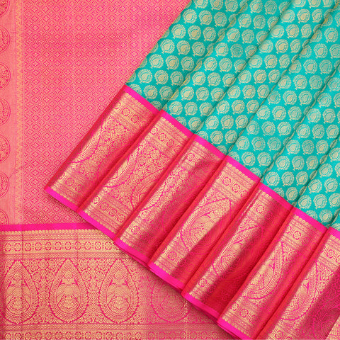Turquoise pure Kanchipuram designer silk saree