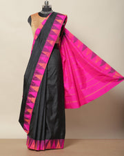 Jet black Bangalore art silk saree