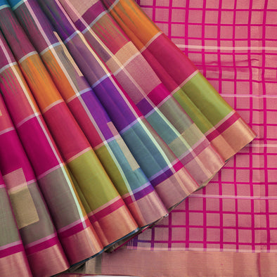 Multi Colour Checked Soft Silk Saree