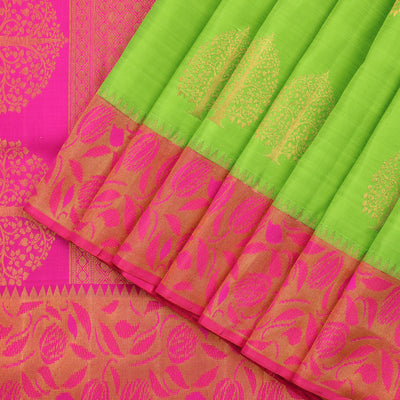 Neon green kanjivaram saree