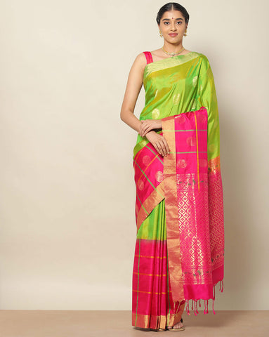 Parrot green pure soft silk saree