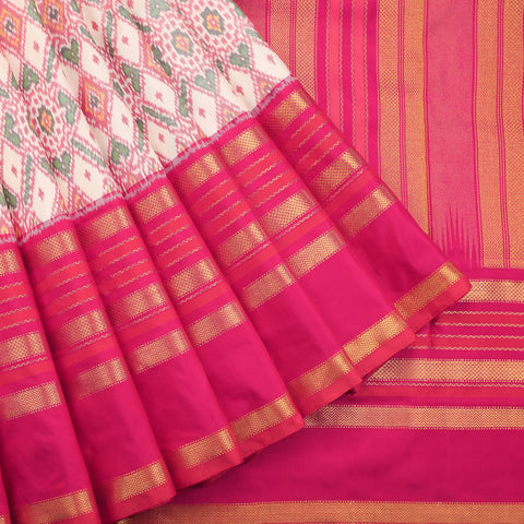 Artistic patola saree in off white and french rose pink