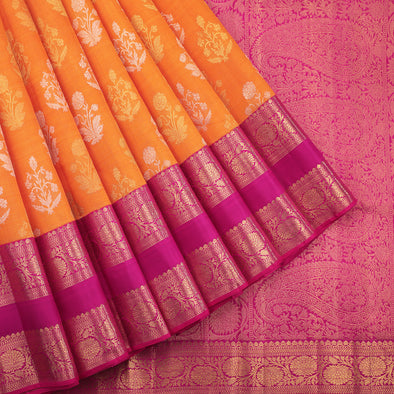 Pure zari orange kora silk saree