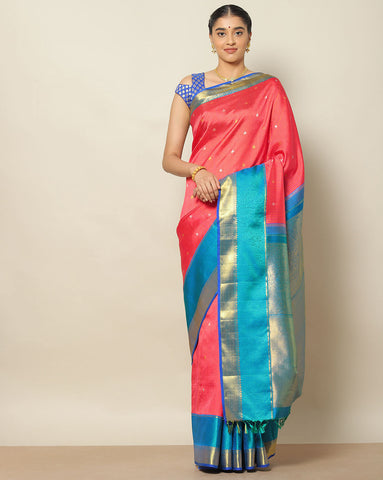 Tomato pink and blue Kanchi silk saree