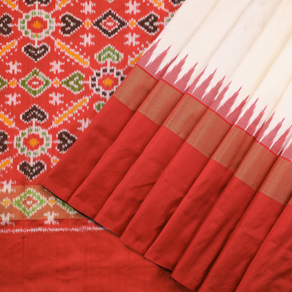 Off White Patola Silk Saree