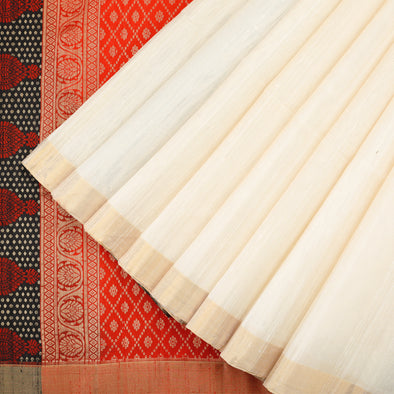 Off white raw silk saree