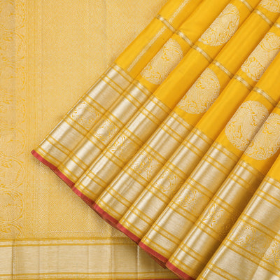Daisy yellow kanjivaram saree