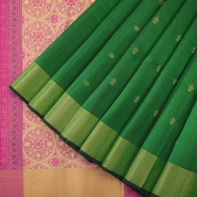 Emerald green raw silk saree