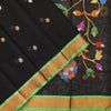Black pure khadi saree with star motifs