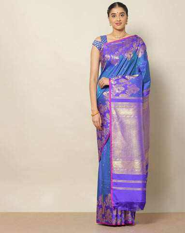 Saphire blue designer pure silk saree