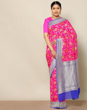 Shocking pink pure banarasi silk saree