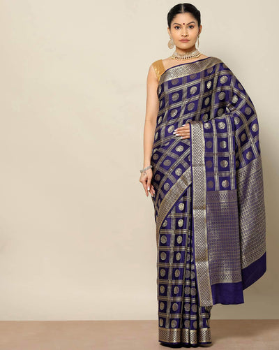 Purplish blue Mysore Crepe silk saree