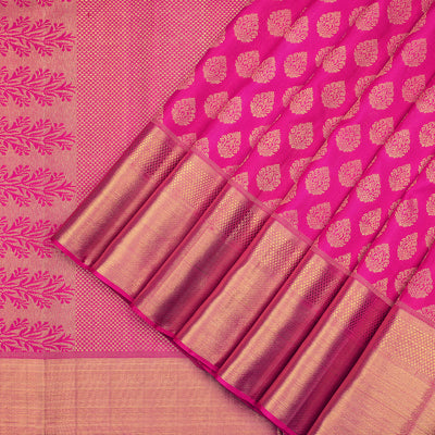 Deep pink Kanchipuram pure silk saree