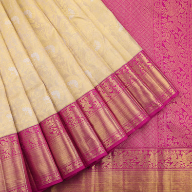 Cream and pink silver brocade kanjivaram saree