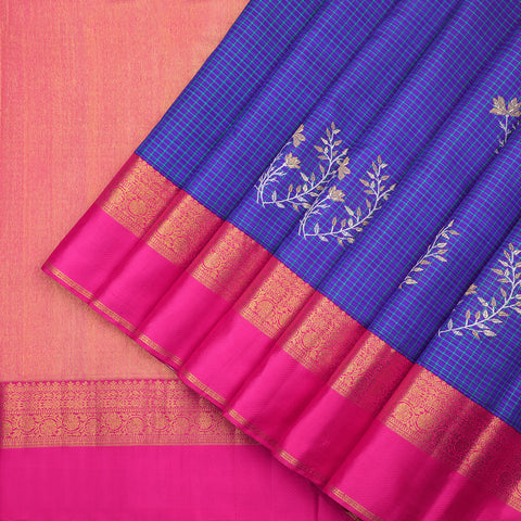 Lush royal blue Kanjivaram silk saree
