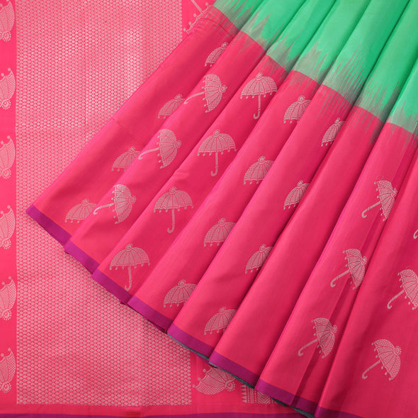 Spring green soft silk saree