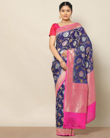 Dark blue banarasi kaddi georgette saree