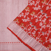 Red Banarasi moonga tussar georgette saree