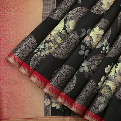 Ebony black tussar silk saree