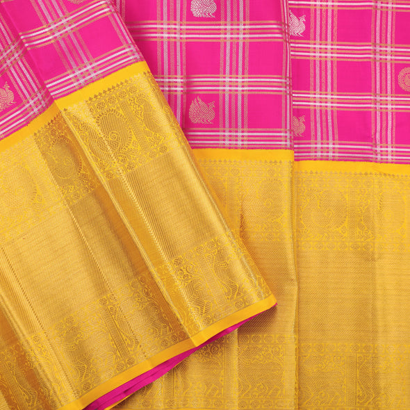 Shocking pink pattu pavadai