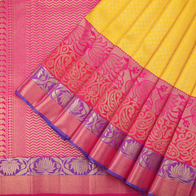 Turmeric yellow bridal wear kanjivaram saree