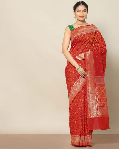 Brick red semi banarasi saree