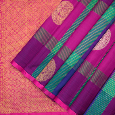 Multicolour checked pure Kanchipuram silk saree
