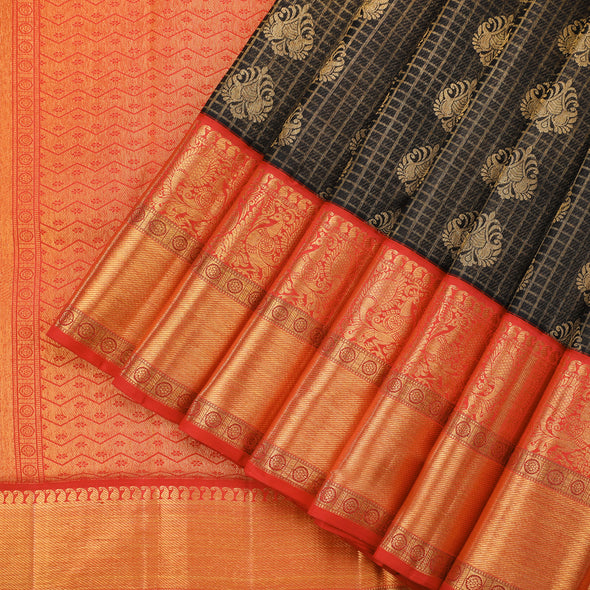 Midnight black kanjivaram saree