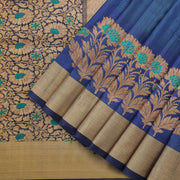 Royal Peacock Blue Tussar Saree