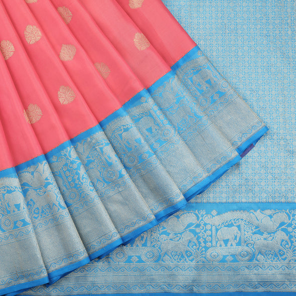 Peach pink Kanjivaram silk saree