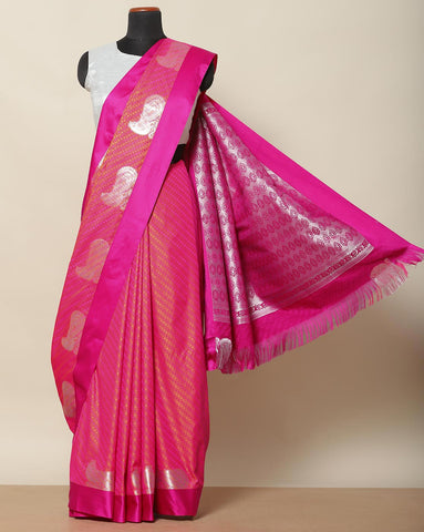 Two toned art silk saree in orange and pink
