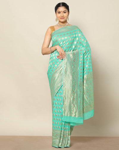 Sea green semi banarasi georgette saree
