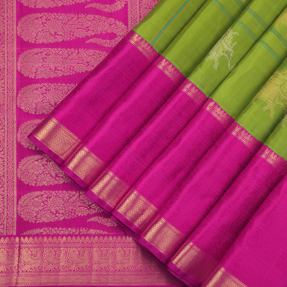 Pear Green Kanjivaram Silk Saree